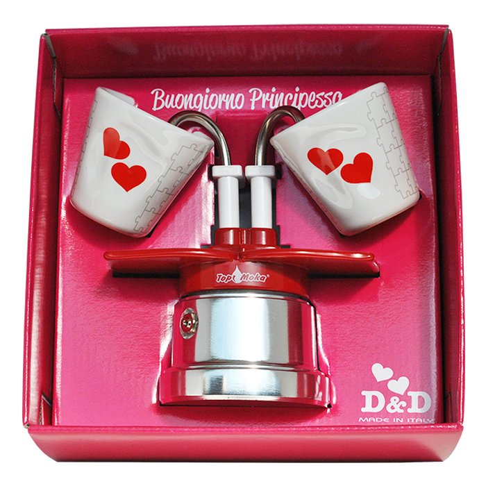 Prinzessin Packung Top MOka You & Me Kaffeemaschine 2 Tassen rot